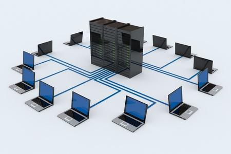 白い背景上のサーバーとコンピュータ ネットワーク。コンピューター生成イメージ。