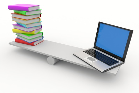 Books and laptop on scales isolated on white. Computer generated image. Stock Photo - 9603791