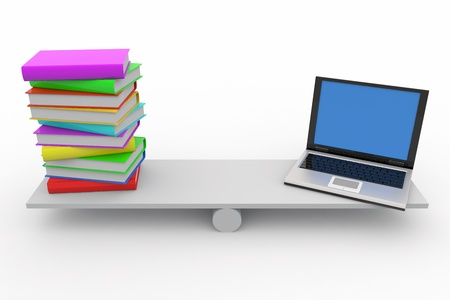 Books and laptop on scales isolated on white. Computer generated image. Stock Photo - 9603780