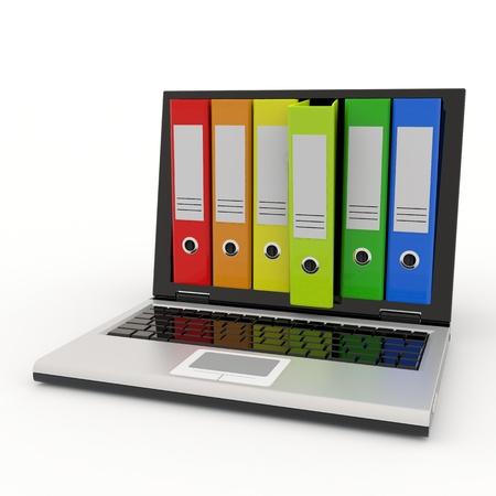 ノート パソコンや画面にカラフルなアーカイブ フォルダー。コンピューター生成イメージ。