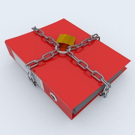 locked: Folder closed by a chain and padlock. Computer generated image.