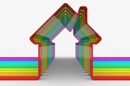 nobody real: Colorful house shapes. Computer generated image. Stock Photo