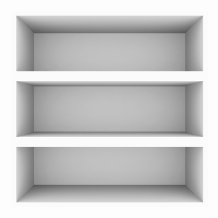 Empty white bookshelf isolated on white. Computer generated image. Stock Photo - 10462232