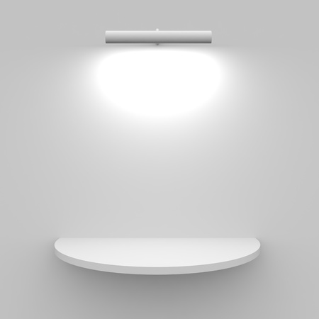 single shelf: Empty white shelf with lamp. Computer generated image.
