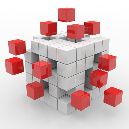 cube puzzle: Cube assembling from blocks. Computer generated image. Stock Photo