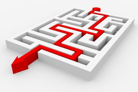 laberinto: Flecha roja, atravesando el laberinto. Ruta de acceso a través del laberinto. Imágenes generadas por computadora.