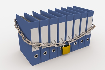 secret password: Row of folders closed by a chain and padlock. Computer generated image. Stock Photo