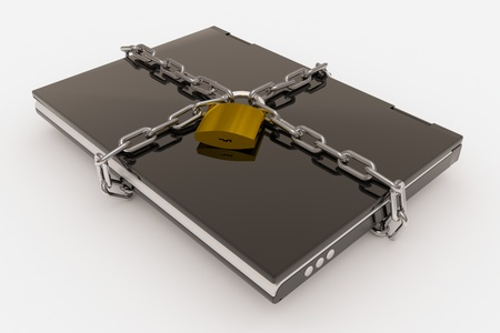 Padlock, chain and laptop isolated on a white background. Computer generated image. photo