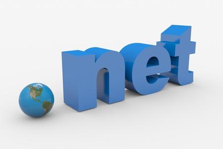 NET palabra 3D. Esfera terrestre reemplazando punto. Imagen generada por ordenador. Foto de archivo - 10493424