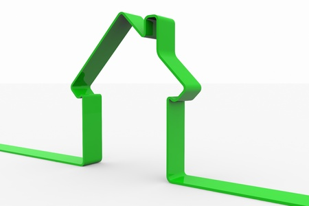 sold isolated: Green 3D sign of house. Computer generated image.