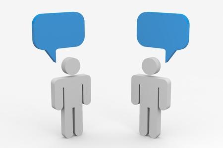 dos personas hablando: Dos personas hablando. Concepto de comunicaci�n. La imagen generada por ordenador.