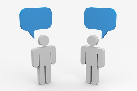 opinions: Two people talking. Concept of communication. Computer generated image. Stock Photo