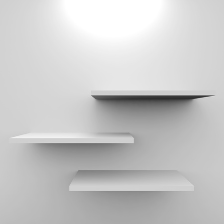 single shelf: Empty white shelves with lamp. Computer generated image.