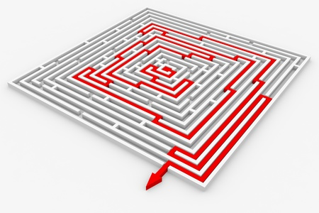 shortcut: Red path from labyrinth. Right way. Concept solution. Computer generated image.
