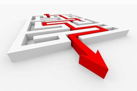 pfad: Roter Pfeil geht durch den Irrgarten. Weg �ber Labyrinth. Computer generierte Bild. Lizenzfreie Bilder