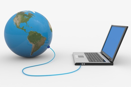 netbook: Laptop connected to the earth sphere. Computer generated image.