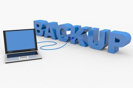 BACKUP palabra en 3D y un ordenador portátil conectado. Imagen generada por ordenador.