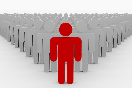 1 and crowd: 3D team leader man. Concept. Computer generated image. Stock Photo