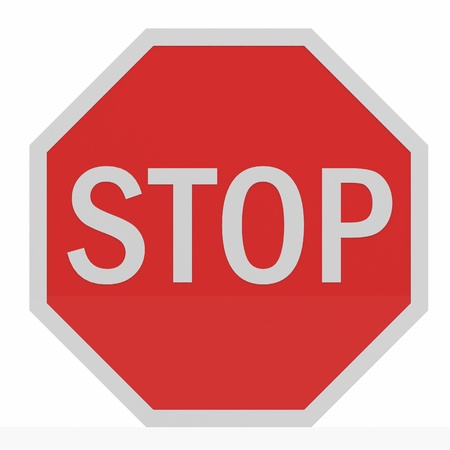 with stop sign: Stop sing isolated on white. Computer generated image.