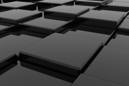 Black glossy cubes on different height. Background. Computer generated image. photo