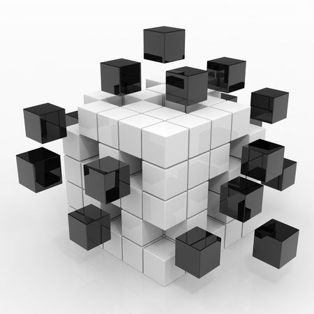 puzzles: Cube assembling from blocks. Computer generated image. Stock Photo