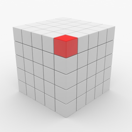vertex: Abstract cube assembling from white blocks and one red block on vertex. Computer generated image.