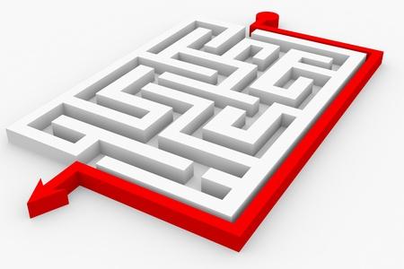 doolhof: Pad over labyrint. Slimme oplossing. Computer gegenereerde afbeelding.