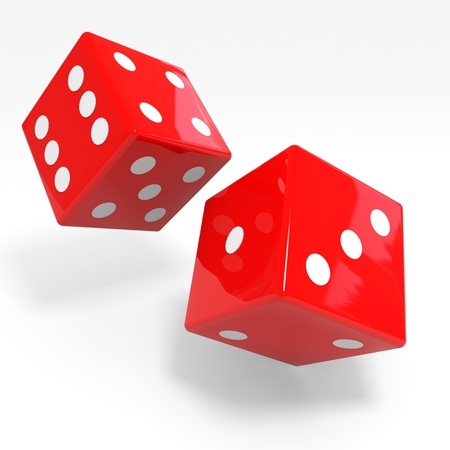 risking: Red dices isolated on white. Computer generated image. Stock Photo