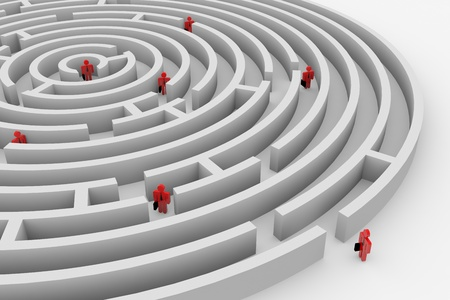 target thinking: People into the round maze. Search of solution. Teamwork. Computer generated image. Stock Photo