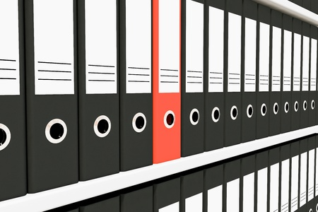 Row of archive folders on the shelves. Computer generated image. Stock Photo - 10590609