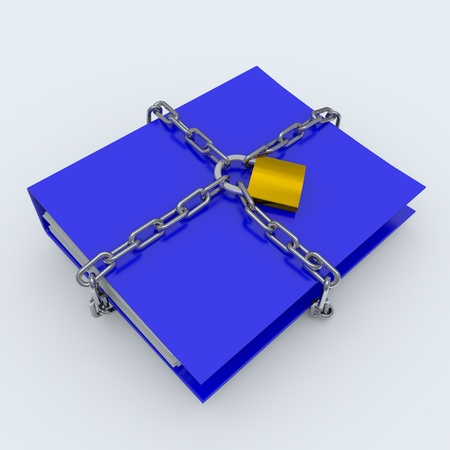 Folder closed by a chain and padlock. Computer generated image. Stock Photo - 10590651
