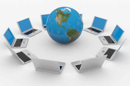 Global computer network. Internet concept. Computer generated image. Stock Photo