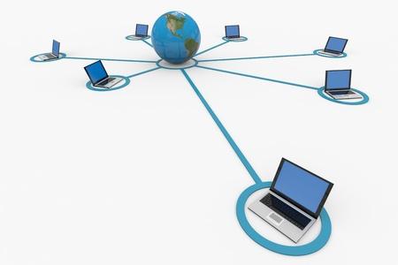 centro de computo: Red informática mundial. Internet concepto. Imagen generada por ordenador. Foto de archivo