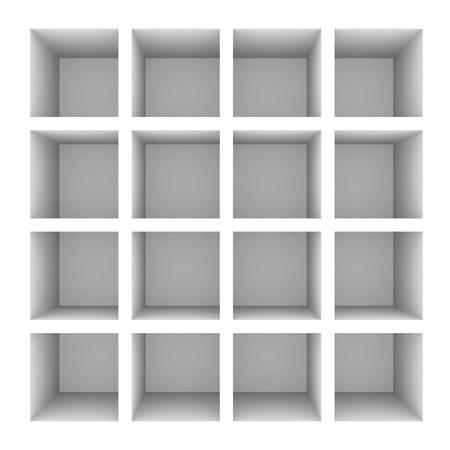 computer generated image: Empty white bookshelf isolated on white. Computer generated image.