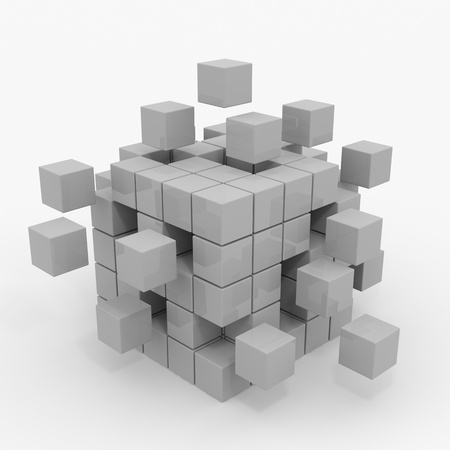 box construction: Cube assembling from blocks. Computer generated image. Stock Photo