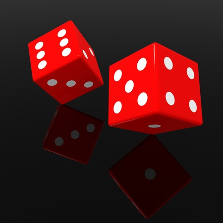 games of chance: Red dices on black glossy surface. Computer generated image.