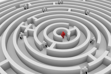 target thinking: La gente en el laberinto redondo. La b�squeda de soluciones. El trabajo en equipo. La imagen generada por ordenador. Foto de archivo
