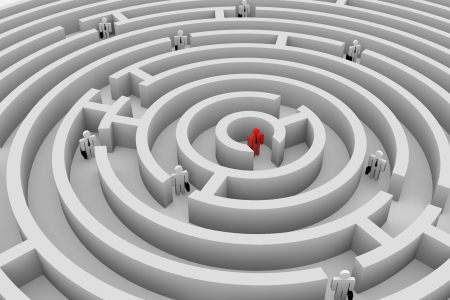capability: People into the round maze. Search of solution. Teamwork. Computer generated image. Stock Photo