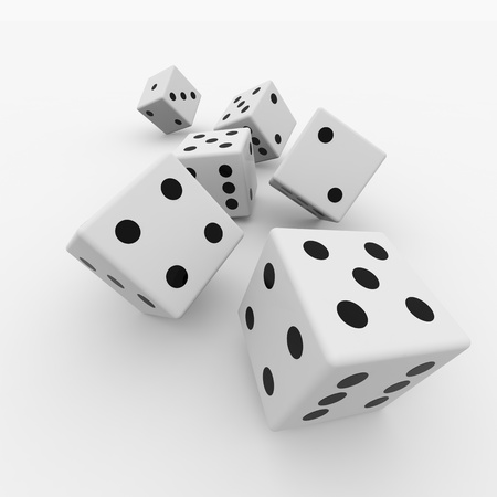 risking: White dices isolated on white. Computer generated image. Stock Photo