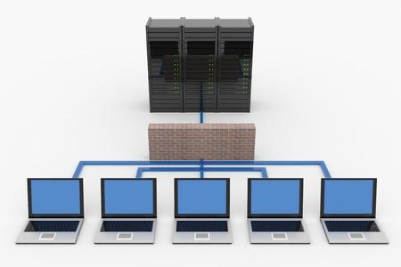 centro de computo: Red con servidor y firewall. Imágenes generadas por computadora. Foto de archivo