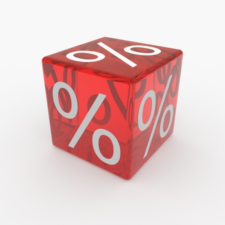 percentage sign: Red cube with percents. Computer generated image. Stock Photo