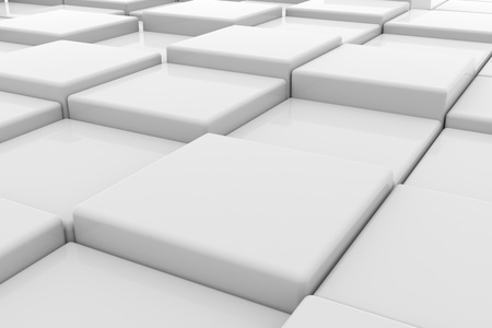 White glossy cubes on different height. Background. Computer generated image. photo