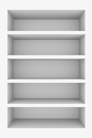 Empty white bookshelf isolated on white. Computer generated image. Stock Photo - 10560437