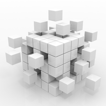 assembling: Cube assembling from blocks. Computer generated image. Stock Photo