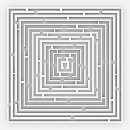 3D maze. View from the top. Computer generated image.