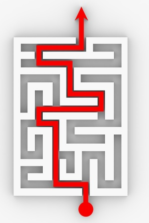 Red arrow going through the maze. Path across labyrinth. Computer generated image. Stock Photo