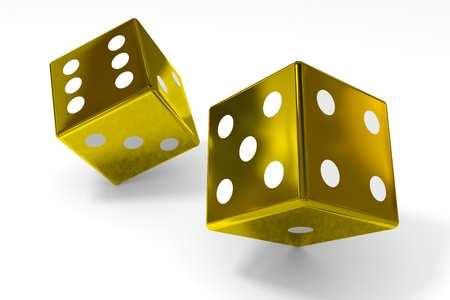 risking: Gold dices on white surface. Computer generated image. Stock Photo
