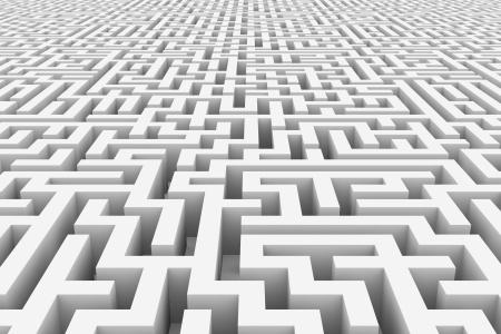 白の無限の迷路。コンピューター生成イメージ。