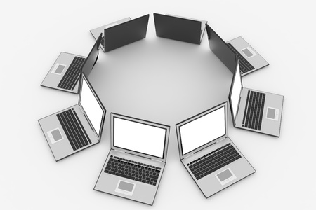 netbook: Laptops in circle isolated on white. Computer generated image. Stock Photo