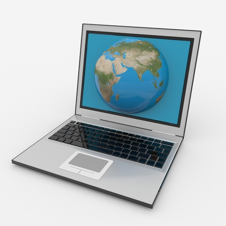 netbook: Globe into laptop screen. Computer generated image.